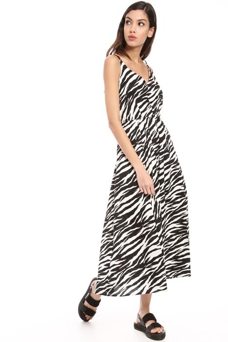Crossed V-neck cotton dress Intrend