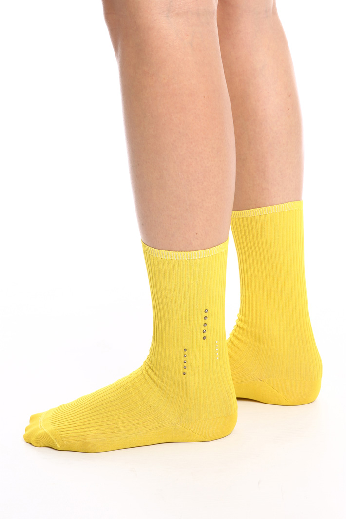 Cotton socks with rhinestones   Intrend