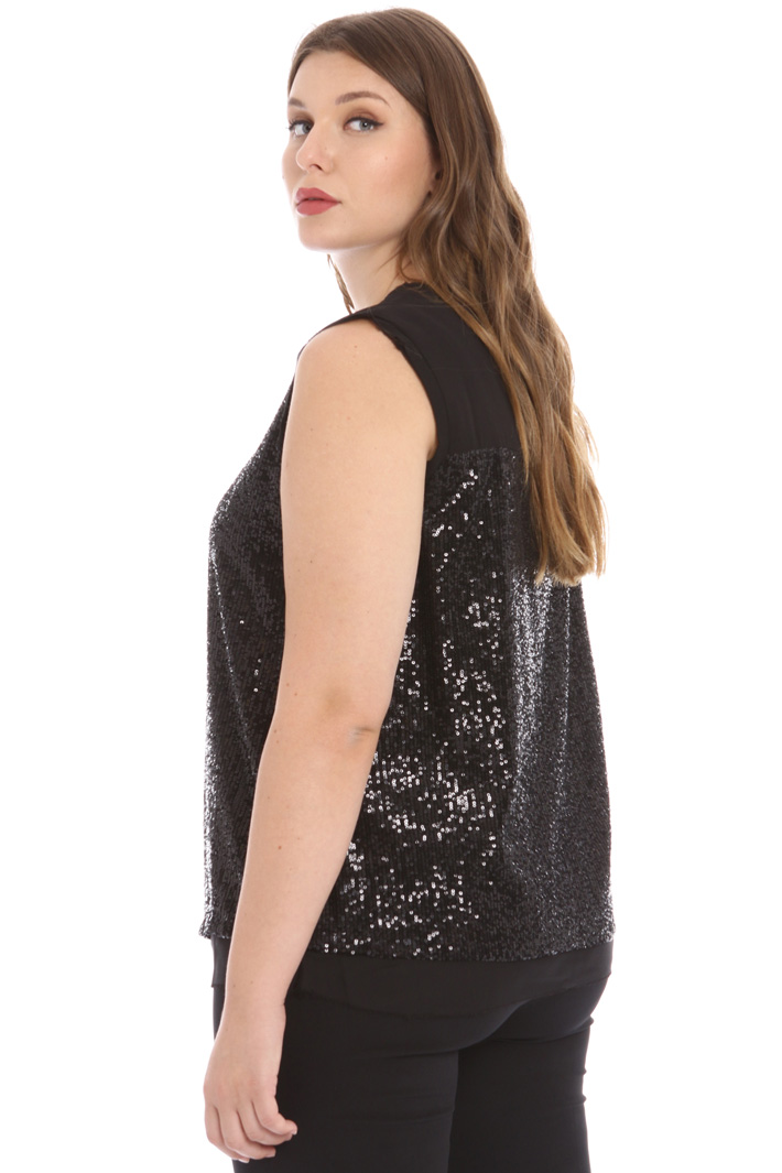 Tulle top with sequins Intrend