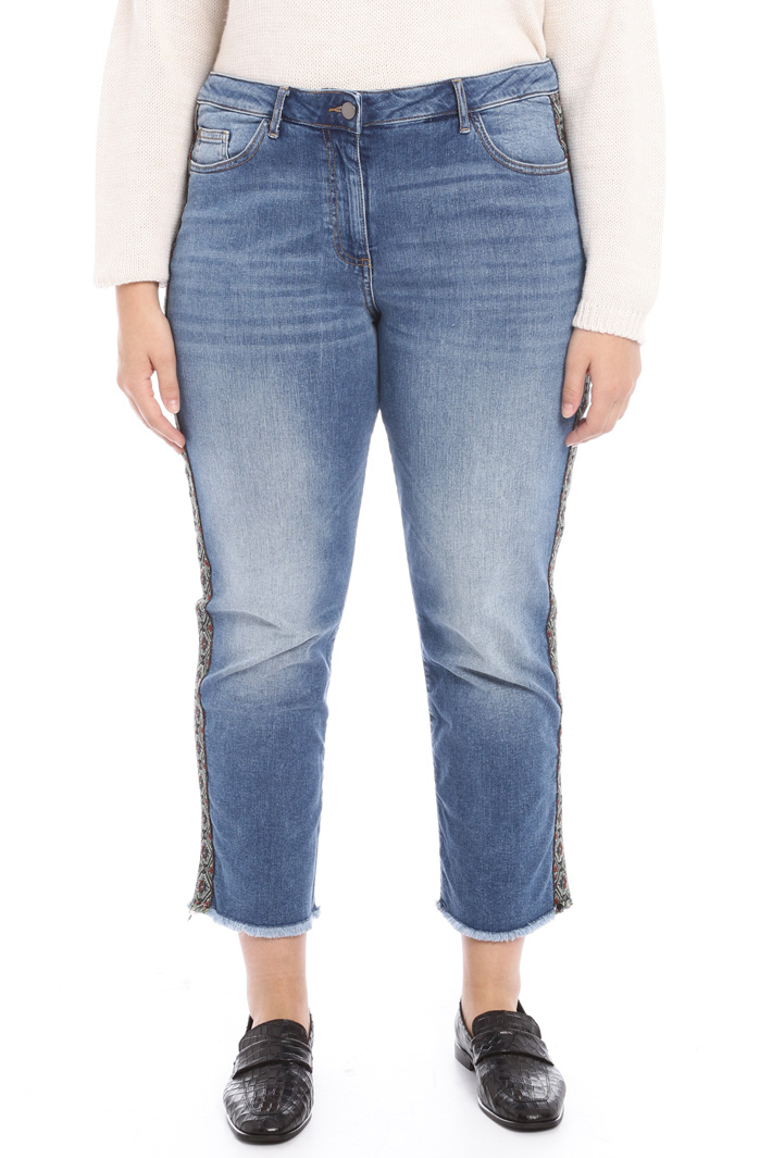 Jeans with side bands Intrend
