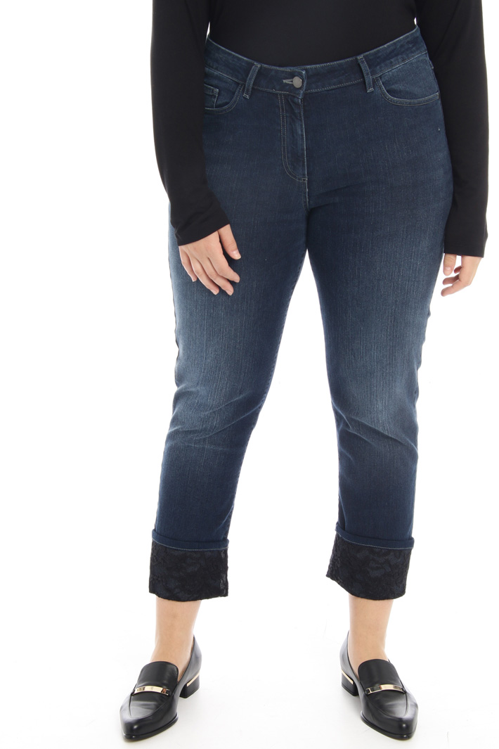 Stretch denim and lace jeans Intrend