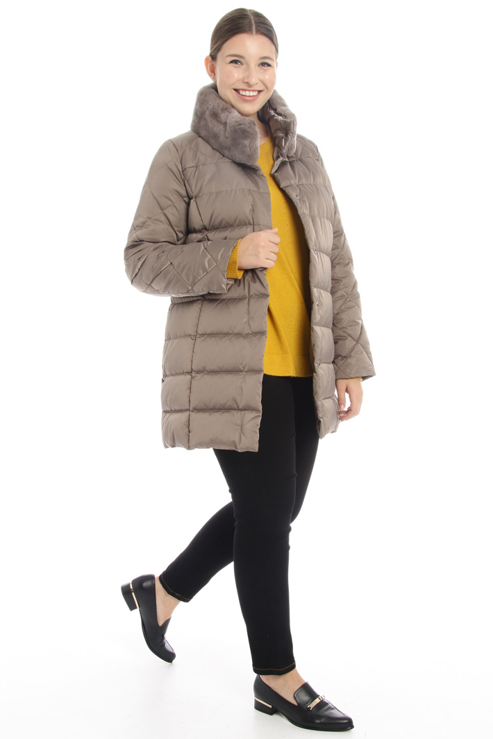 Fur trim high neck jacket Intrend