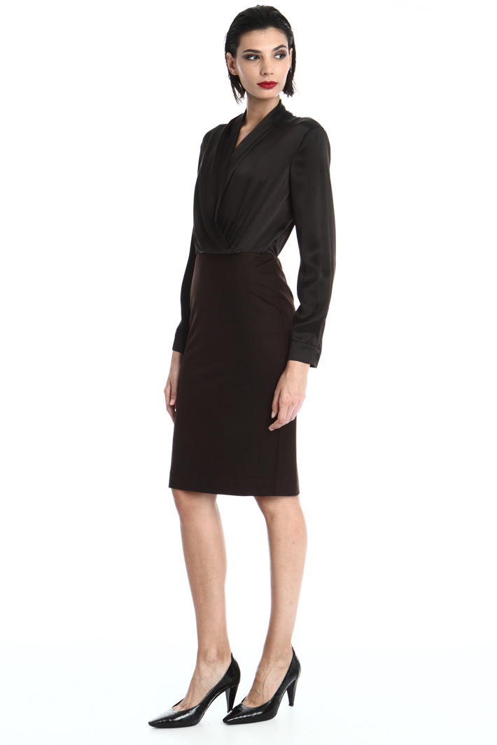 Dress in satin and wool jersey Intrend