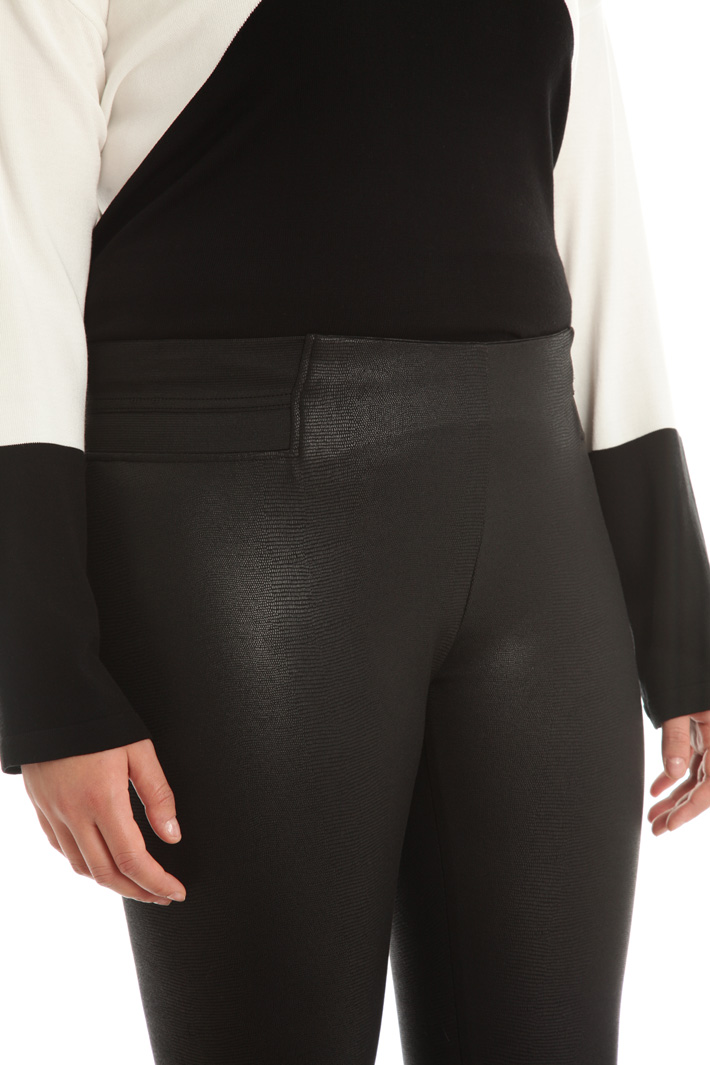 Laminated jersey leggings Intrend