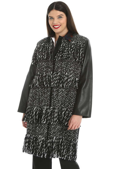 Fringed tweed coat Intrend