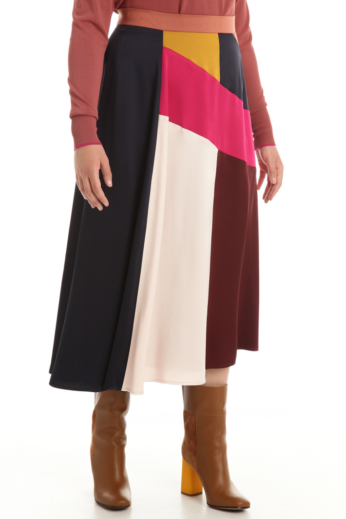 Colour block satin skirt Intrend