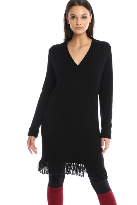 Fringed knit dress  Intrend