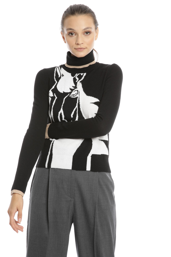 Sweater with horse inlay Intrend