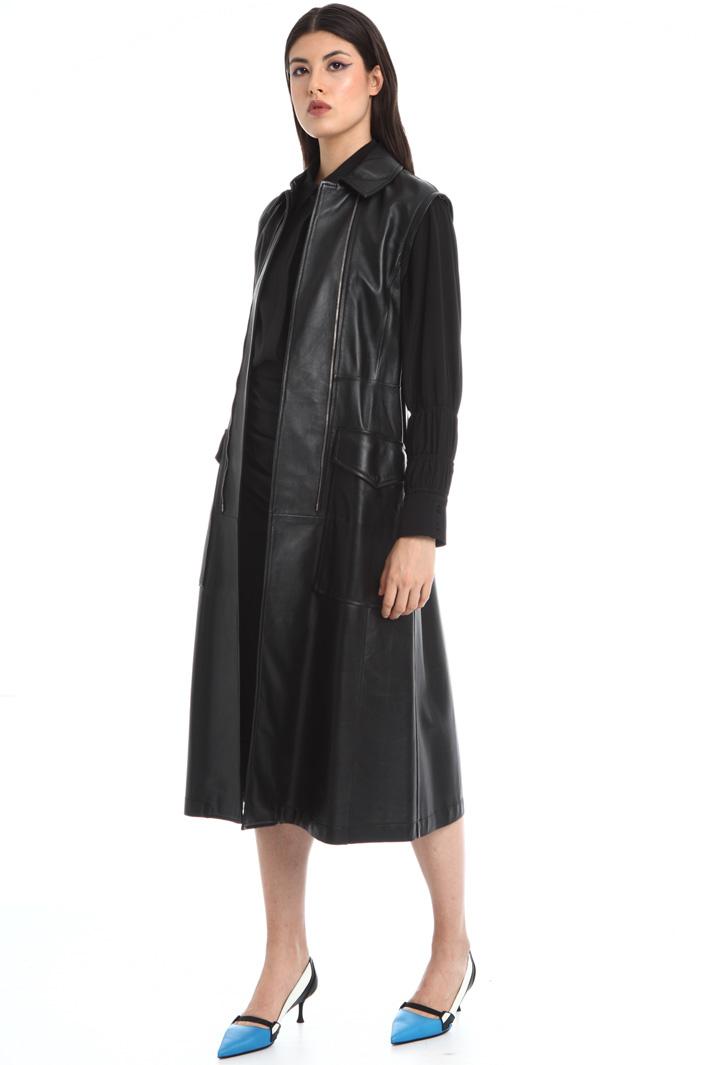 Double zip leather overcoat Intrend