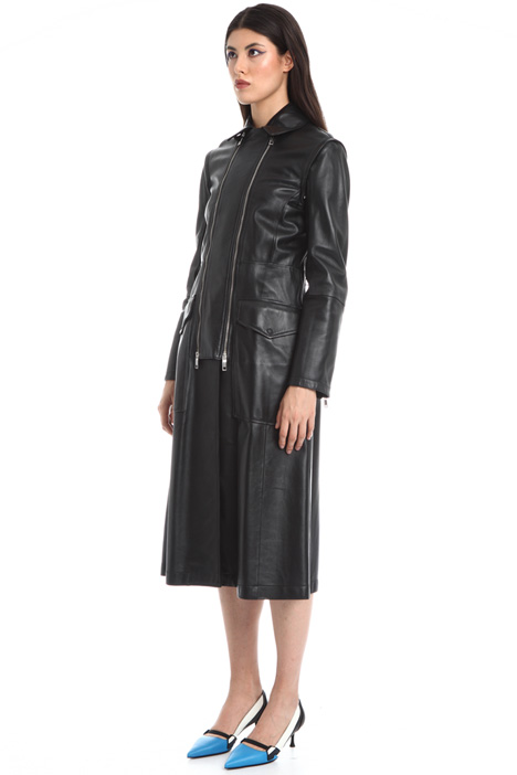 Double zip leather overcoat Intrend