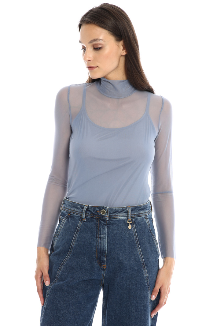 High neck tulle top Intrend