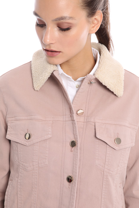 Fur-effect collar jacket Intrend