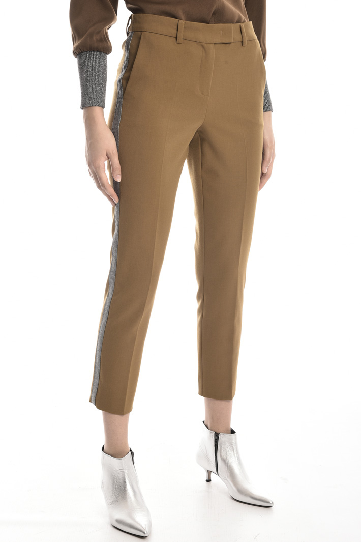 Trousers with lurex band Intrend