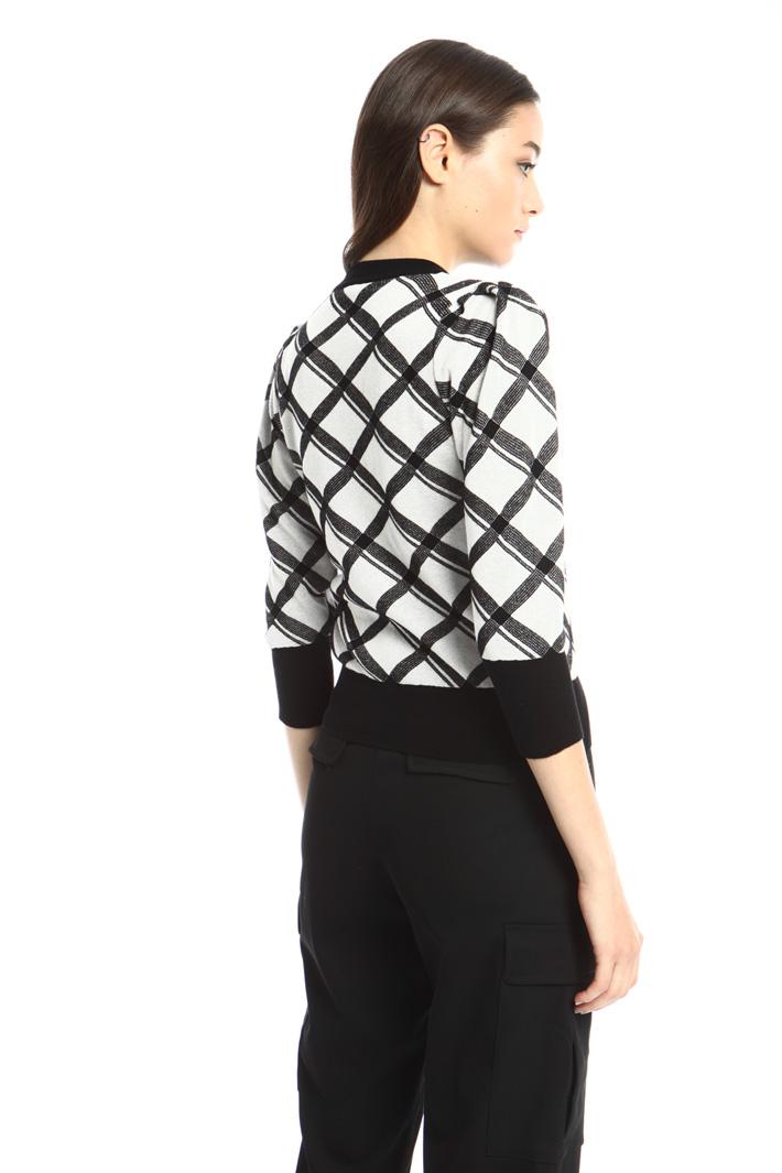 Puff sleeve jacquard sweater Intrend