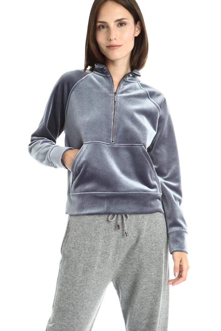 Zipped velvet sweatshirt Intrend