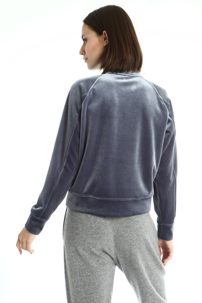 Zipped velvet sweatshirt Intrend