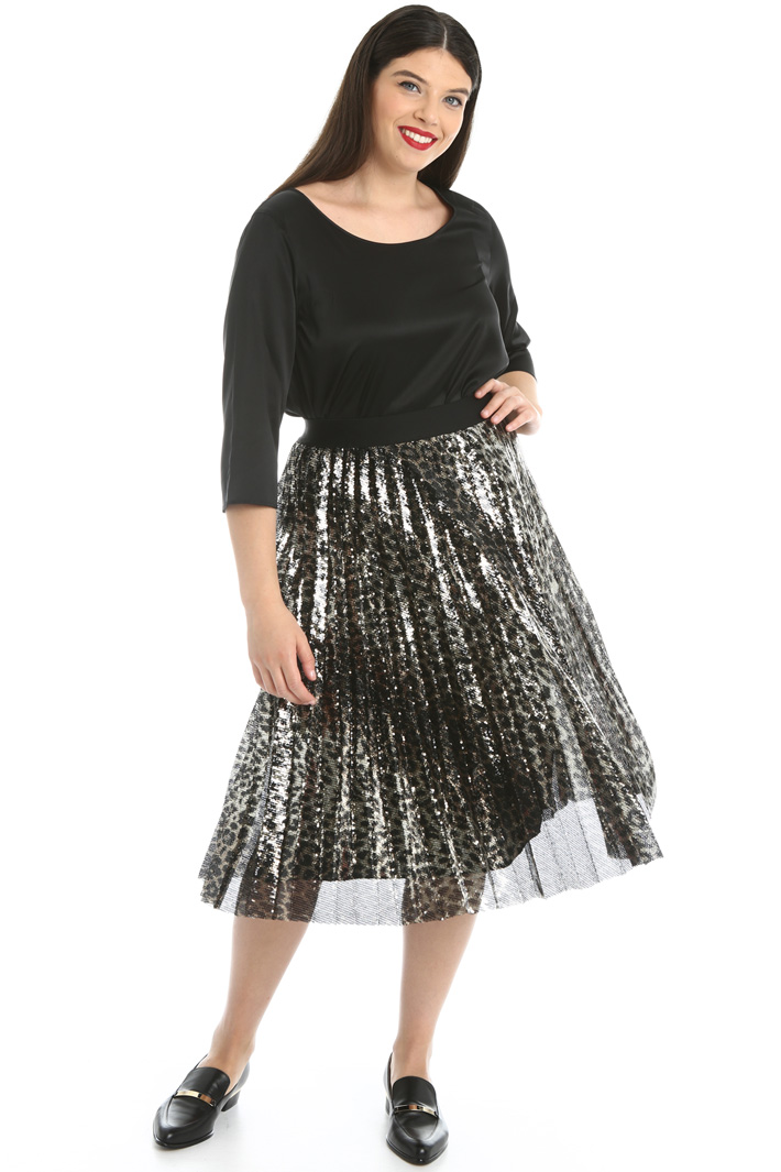 Pleated sequinned skirt Intrend