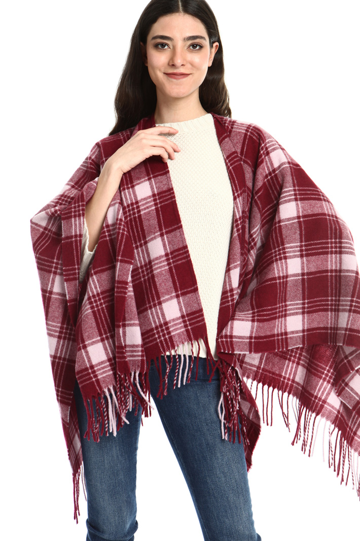 Fringed wool poncho Intrend