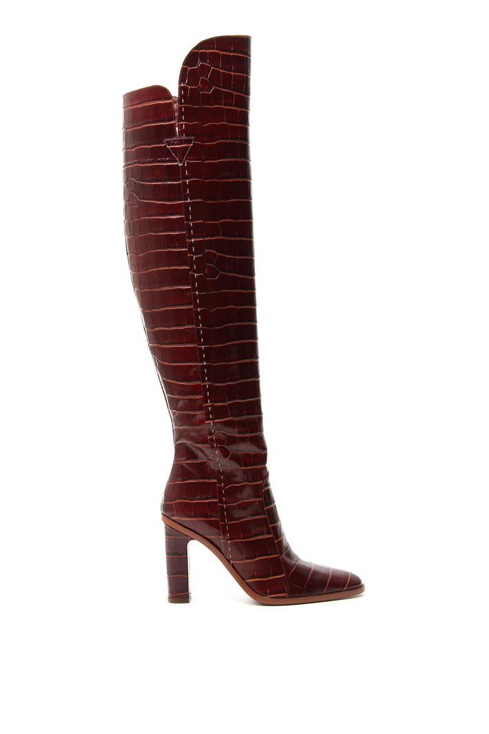 Crocodile print high boots Intrend