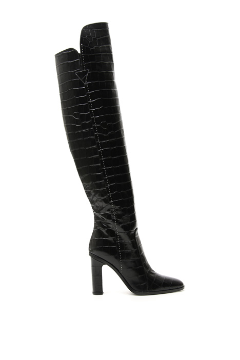 Crocodile print high boots Intrend