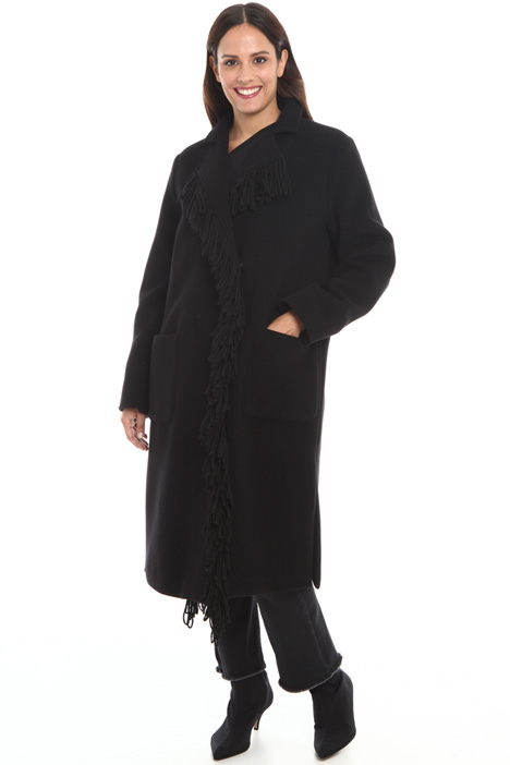 Fringed wool blend coat Intrend