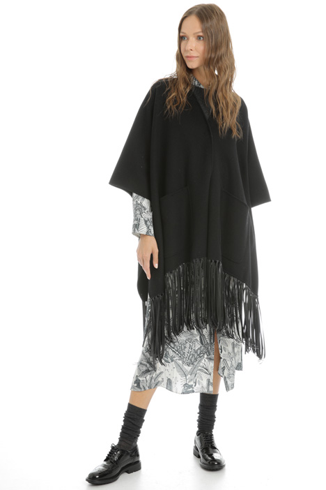 Fringed wool cape Intrend