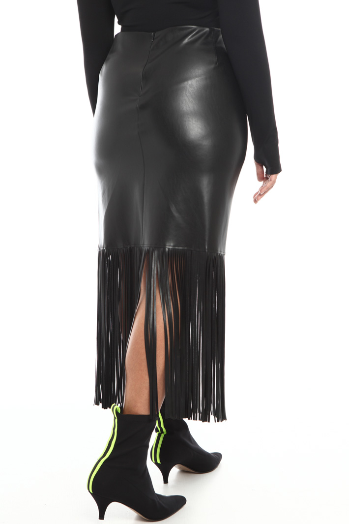 Fringed faux-leather skirt Intrend