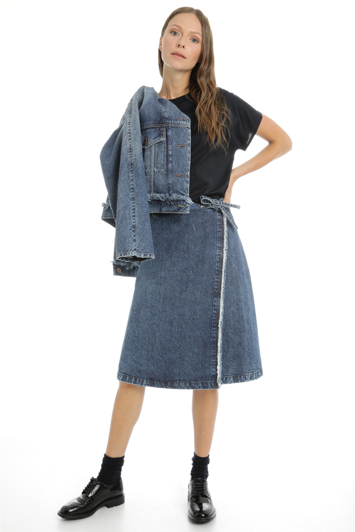 Fringed cotton denim skirt Intrend