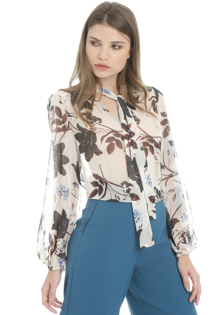 Lamé blouse with scarf neck Intrend