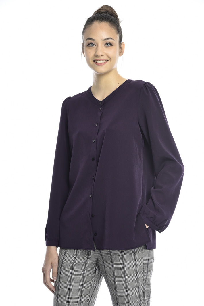 Crepe shirt with band collar Intrend