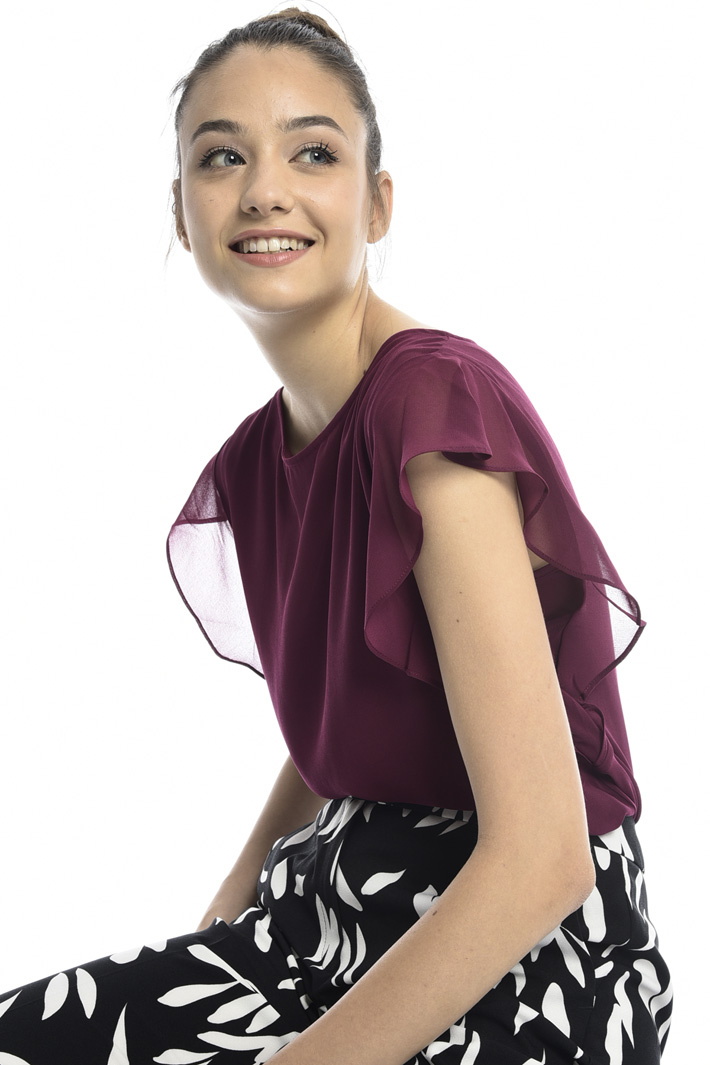 Frilled sleeve top Intrend