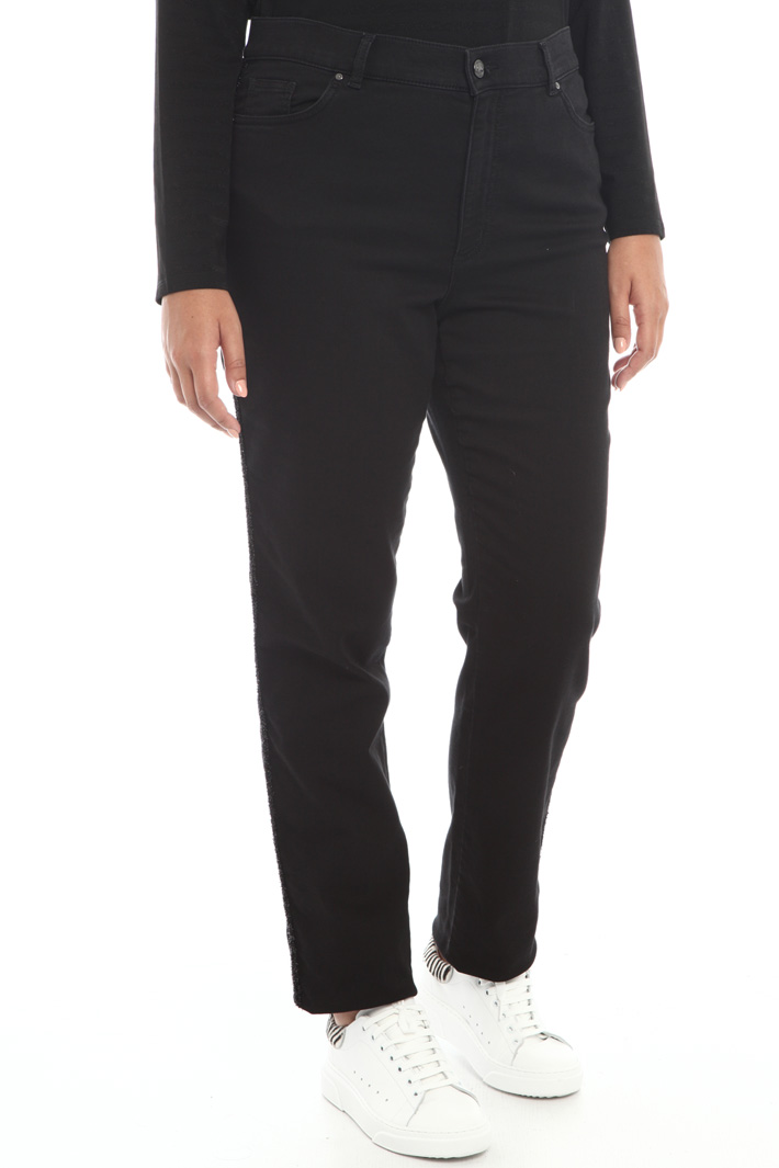 Denim trousers with side bands Intrend