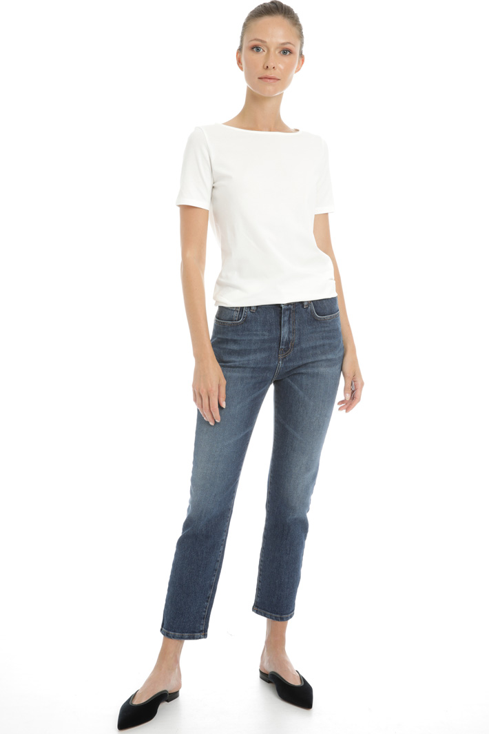 Cotton denim cropped jeans Intrend