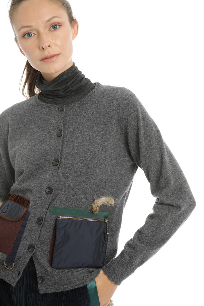 Fur trimmed pocket cardigan Intrend