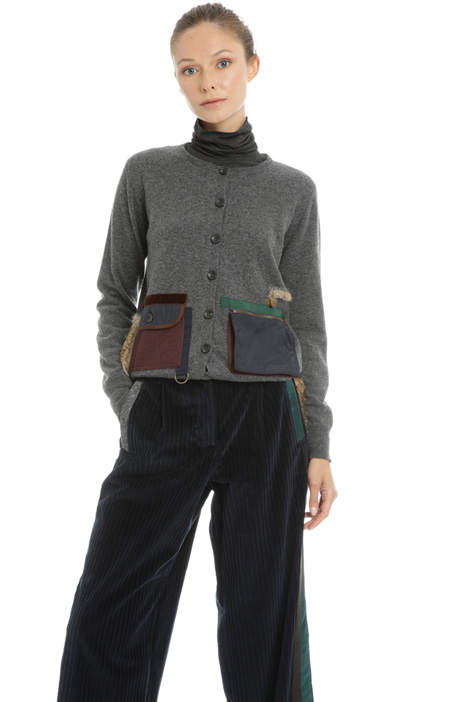 Fur trimmed pocket cardigan Intrend