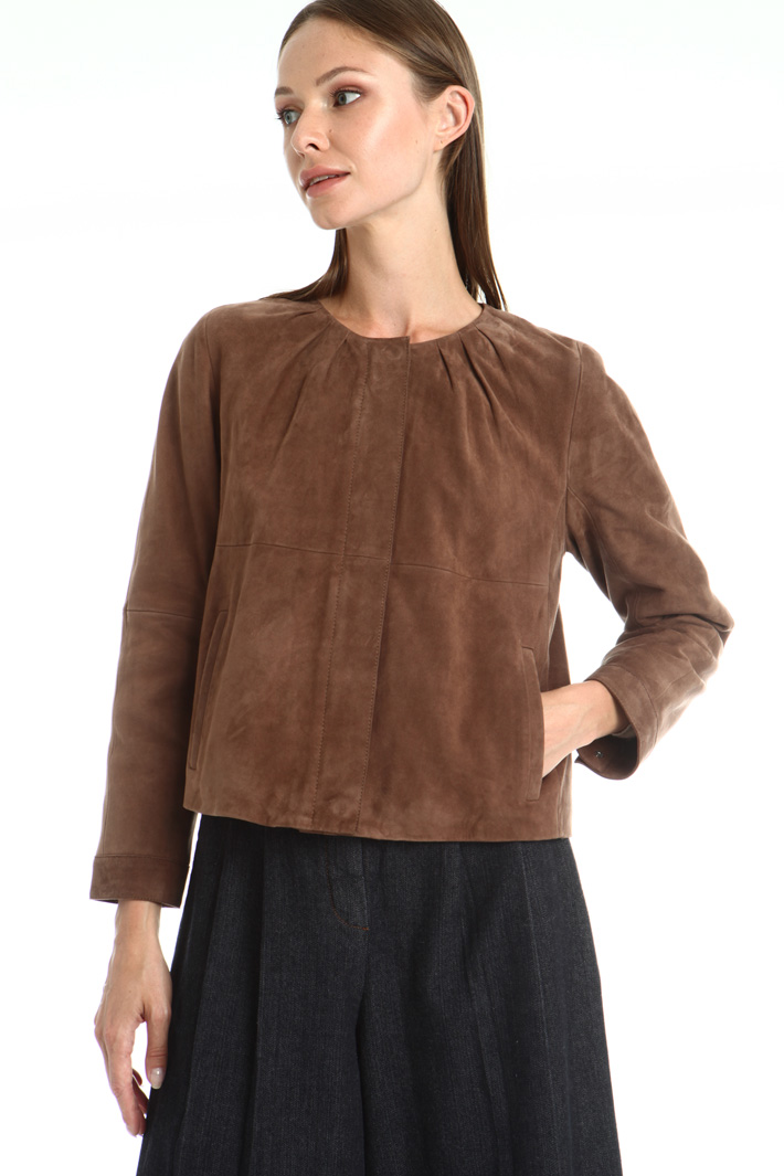 Boxy fit suede jacket Intrend