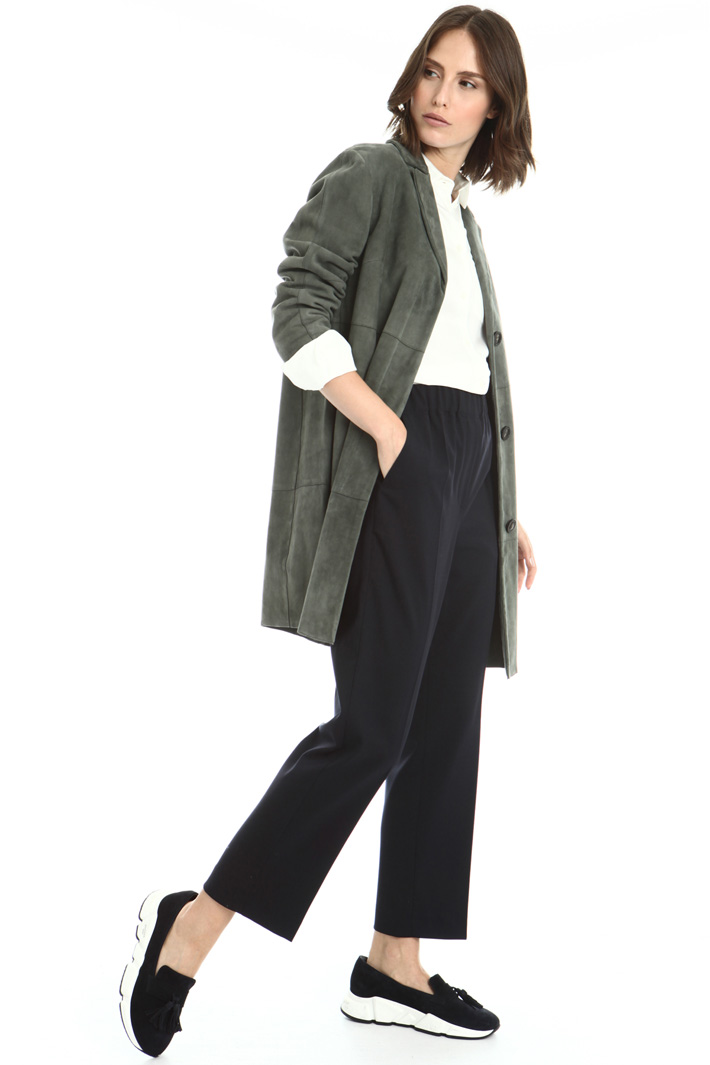 Suede leather duster coat Intrend