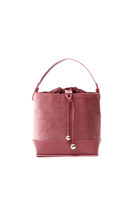 Velvet and leather bucket bag Intrend