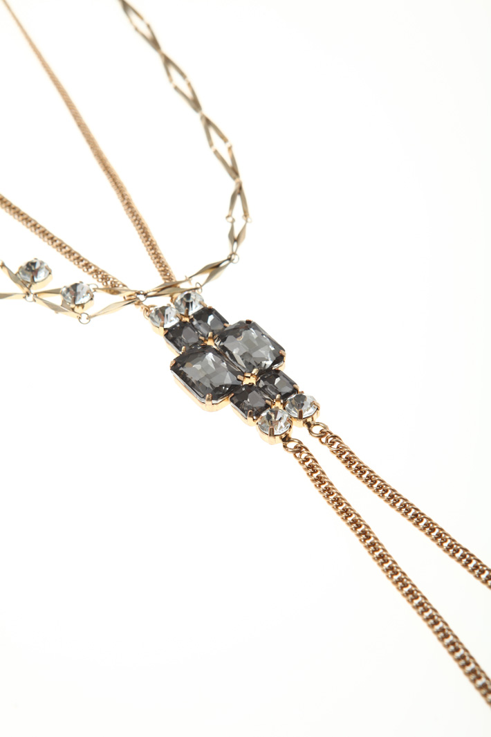 Metal and rhinestone necklace Intrend