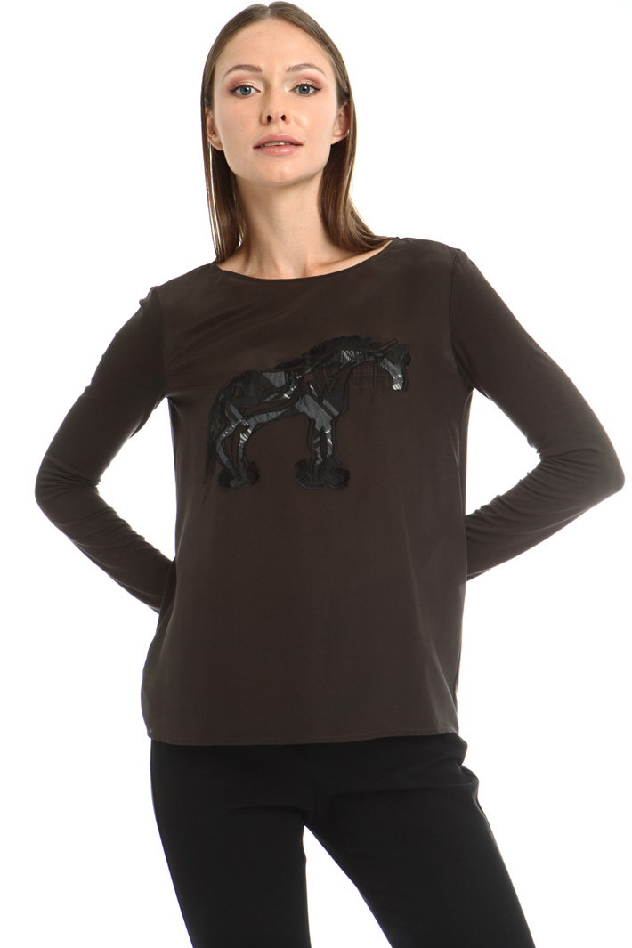 Viscose and silk T-shirt Intrend