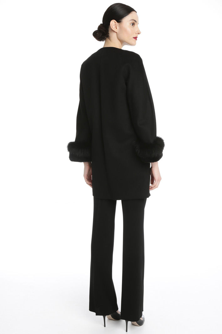 Wool coat with fur cuffs Intrend