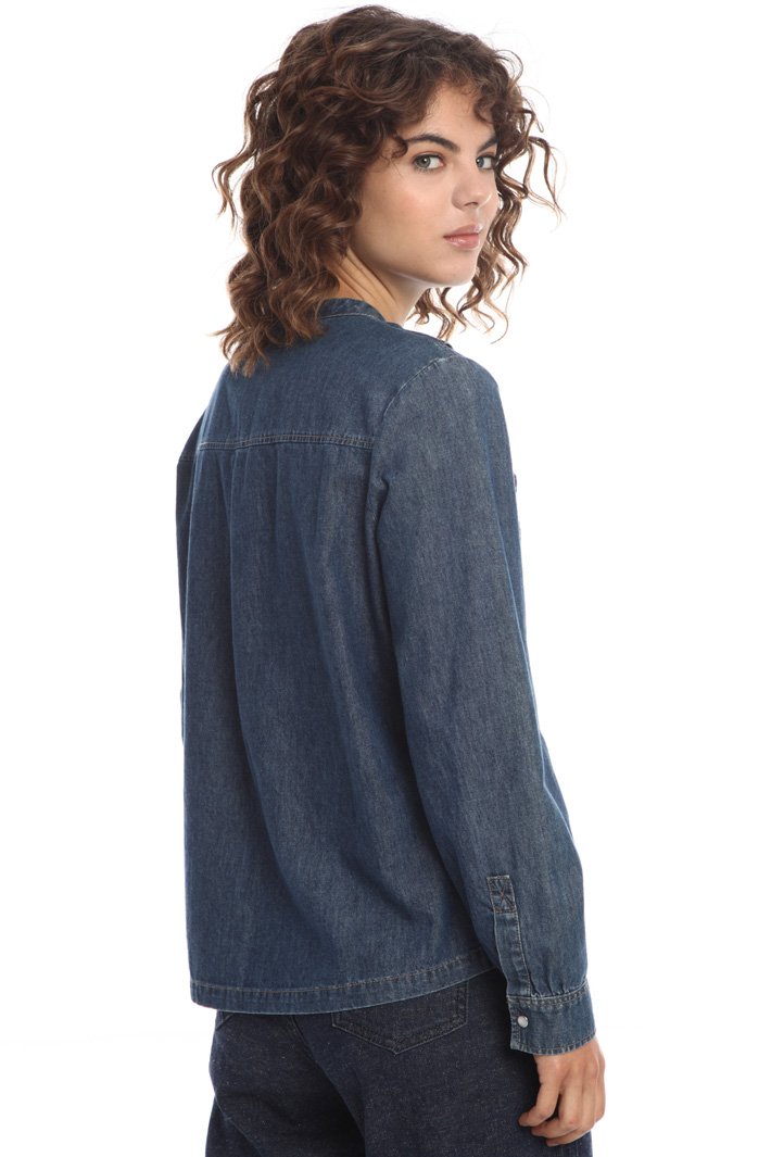 Denim blouse with bow collar  Intrend