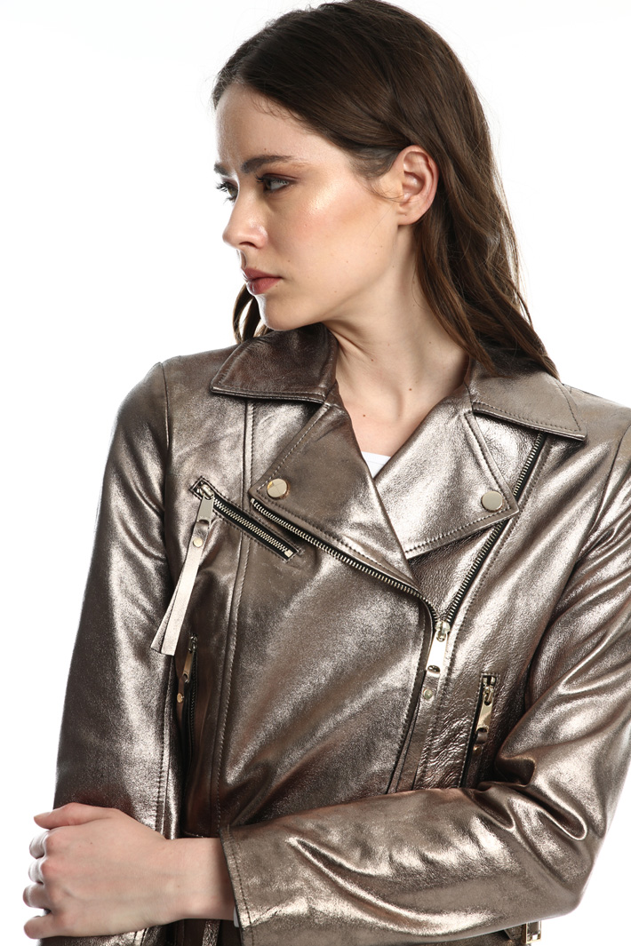 Laminated nappa biker jacket  Intrend