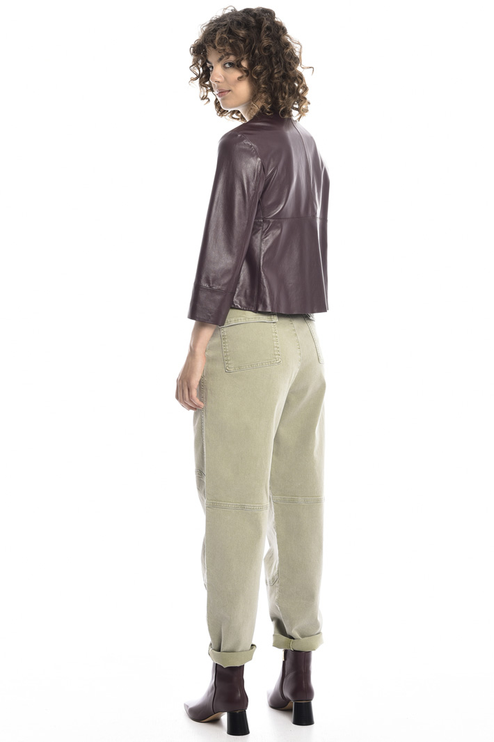 Cropped nappa jacket   Intrend