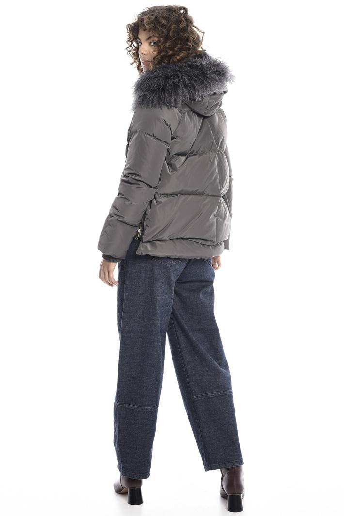 Mongolian fur trim down coat Intrend