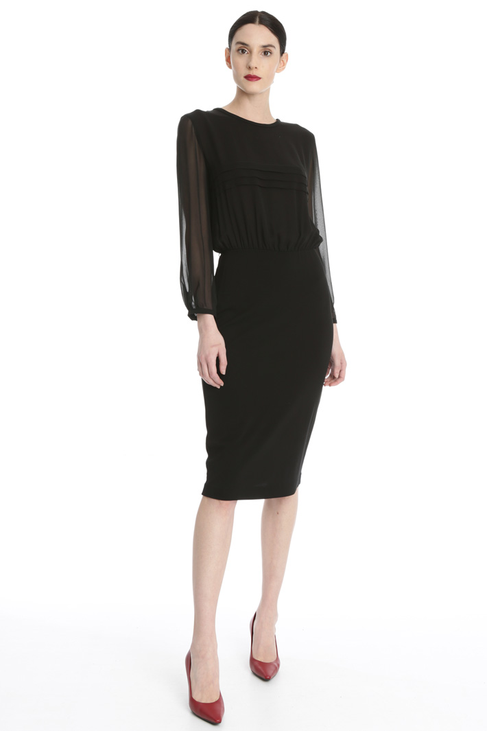 Silk georgette and jersey dress Intrend