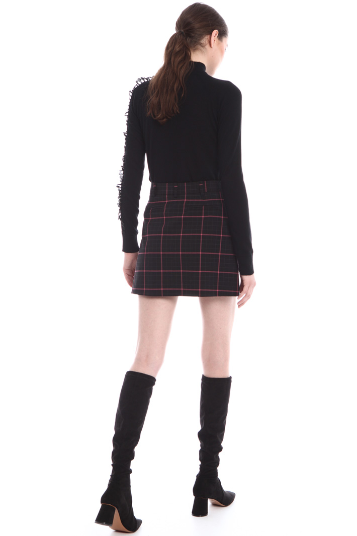Wool check mini-skirt  Intrend