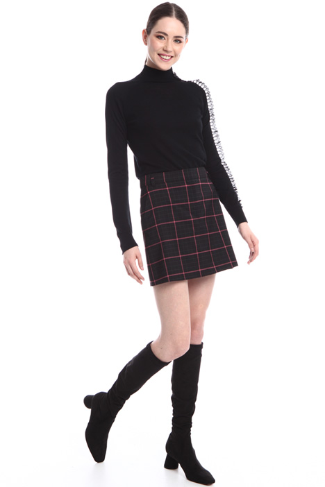 Wool check mini-skirt  Intrend