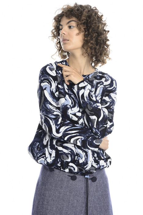 Drawstring printed blouse   Intrend