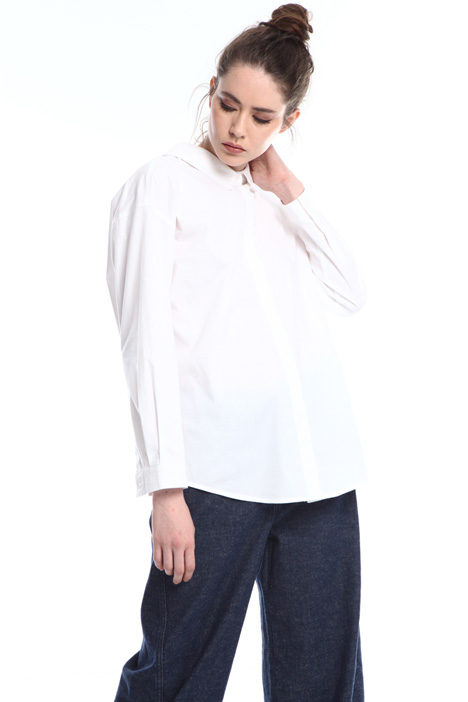 Back V-neck poplin shirt  Intrend